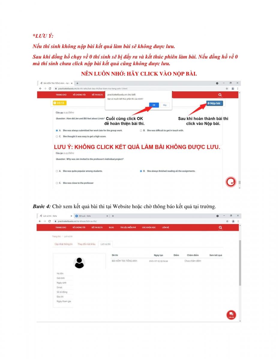 Hướng dẫn tạo tài khoản, đăng nhập và làm bài thi trên trang web HTTP://PRACTICEKELLA.EDU.VN