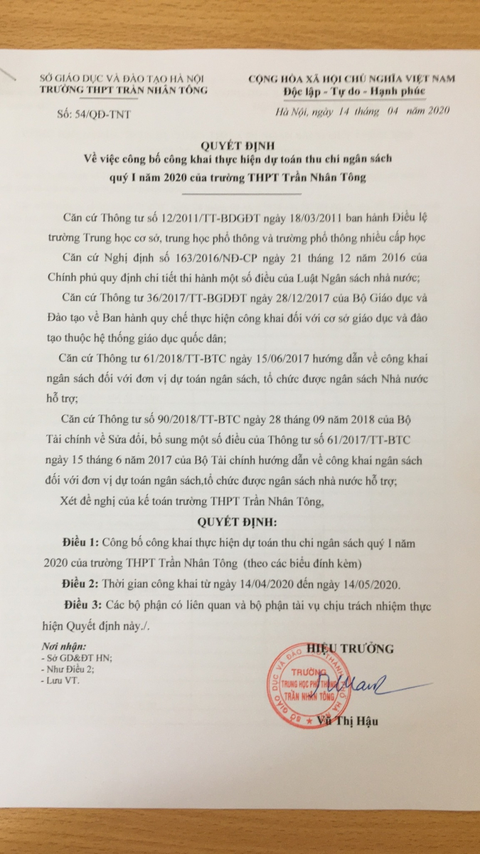 Quyết định 54/QĐ-TNT về công bố chi ngân sách